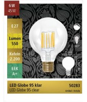 Ampoule globe LED 95mm E27 6w